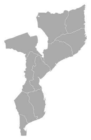 frontiers: Map of Mozambique with the provinces. Illustration
