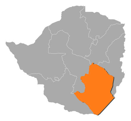 Map of Zimbabwe with the provinces, Masvingo is highlighted by orange.
