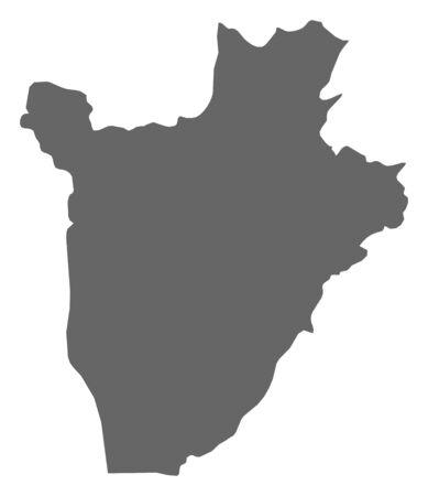 republique: Map of Burundi as a dark area. Illustration