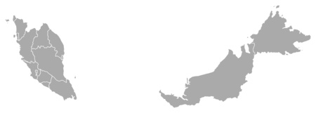 southeastern asia: Map of Malaysia with the provinces. Illustration