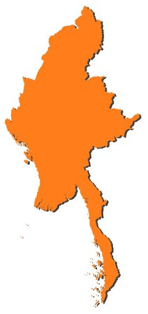 southeastern asia: Map of Myanmar, filled in orange. Illustration