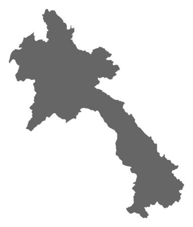 southeastern asia: Map of Laos as a dark area. Illustration