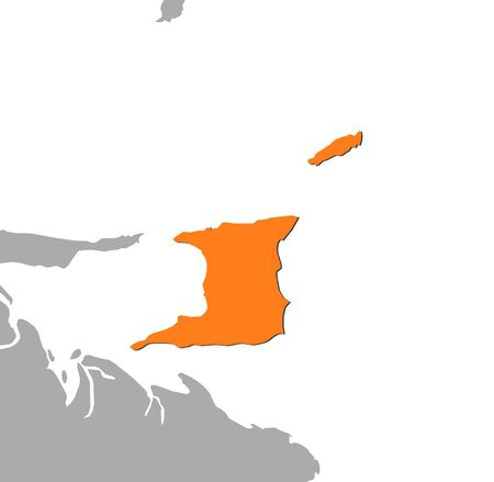 middle america: Map of Trinidad and Tobago and nearby countries, Trinidad and Tobago is highlighted in orange.