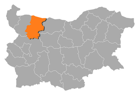 Map of Bulgaria with the provinces, Vratsa is highlighted by orange.