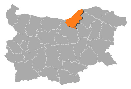 Map of Bulgaria with the provinces, Ruse is highlighted by orange. Illustration