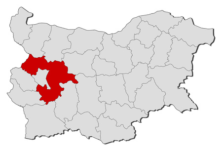 highlighted: Map of Bulgaria with the provinces, Sofia Province is highlighted. Illustration