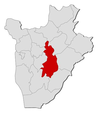 highlighted: Map of Burundi with the provinces, Gitega is highlighted. Illustration