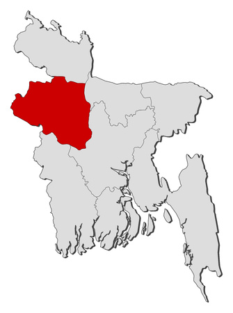 Map of Bangladesh with the provinces, Rajshahi is highlighted.