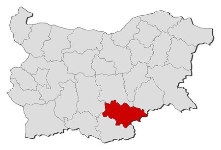 Map of Bulgaria with the provinces, Haskovo is highlighted.