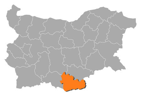 Map of Bulgaria with the provinces, Kardzhali is highlighted by orange.