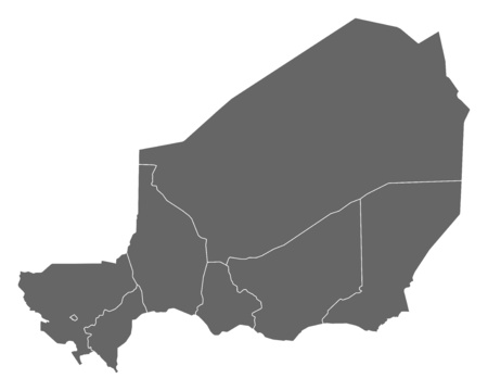 niger: Map of Niger as a dark area. Illustration