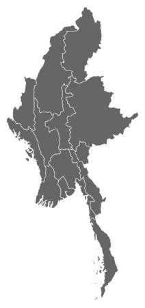 southeastern asia: Map of Myanmar as a dark area.
