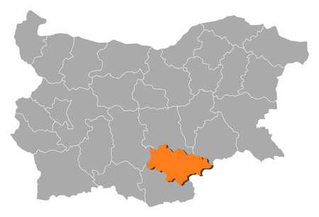 haskovo: Map of Bulgaria with the provinces, Haskovo is highlighted by orange. Illustration