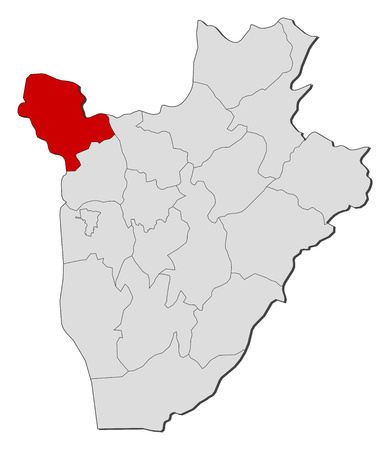 republique: Map of Burundi with the provinces, Cibitoke is highlighted.