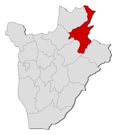 highlighted: Map of Burundi with the provinces, Muyinga is highlighted. Illustration