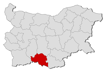 Map of Bulgaria with the provinces, Smolyan is highlighted.