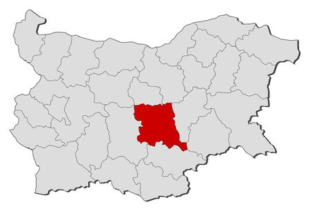 highlighted: Map of Bulgaria with the provinces, Stara Zagora is highlighted.