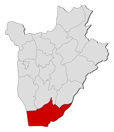 Map of Burundi with the provinces, Makamba is highlighted. Illustration