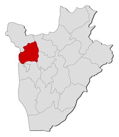 regions: Map of Burundi with the provinces, Bubanza is highlighted.