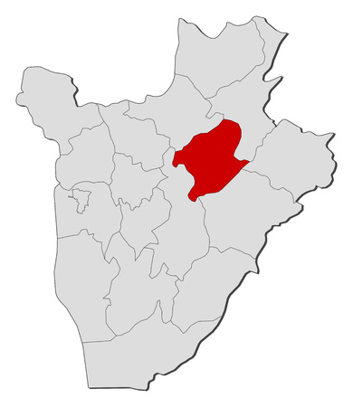 highlighted: Map of Burundi with the provinces, Karuzi is highlighted.