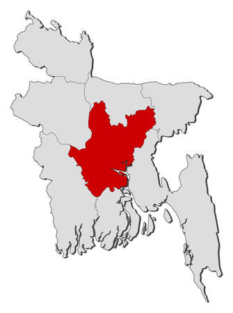 highlighted: Map of Bangladesh with the provinces, Dhaka is highlighted.