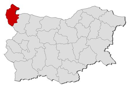 highlighted: Map of Bulgaria with the provinces, Vidin is highlighted.