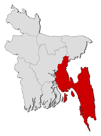 Map Of Bangladesh With The Provinces Chittagong Is Highlighted