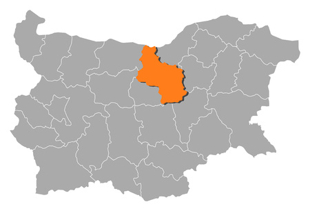 veliko tarnovo: Map of Bulgaria with the provinces, Veliko Tarnovo is highlighted by orange.