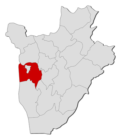 Map of Burundi with the provinces, Bujumbura Rural is highlighted.