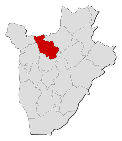 highlighted: Map of Burundi with the provinces, Kayanza is highlighted.