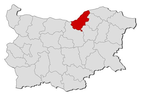 ruse: Map of Bulgaria with the provinces, Ruse is highlighted.