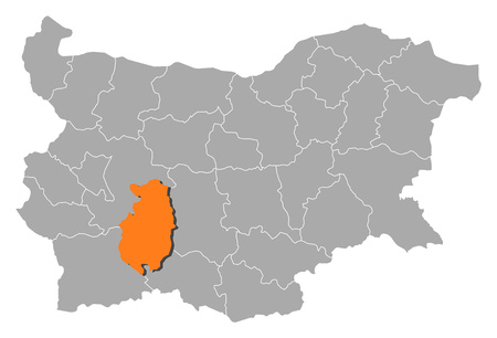 Map of Bulgaria with the provinces, Pazardzhik is highlighted by orange.