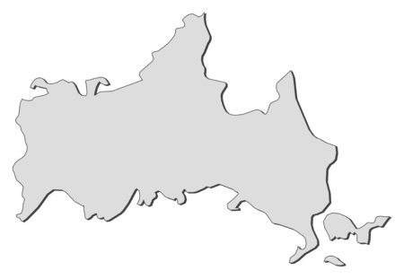 Map of Yamaguchi, a province of Japan. Illustration