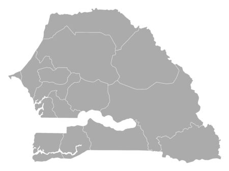 provinces: Map of Senegal with the provinces.