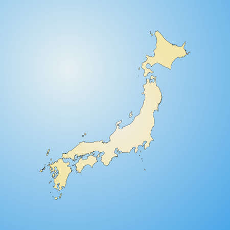 Map of Japan, filled with a radial gradient. Illustration
