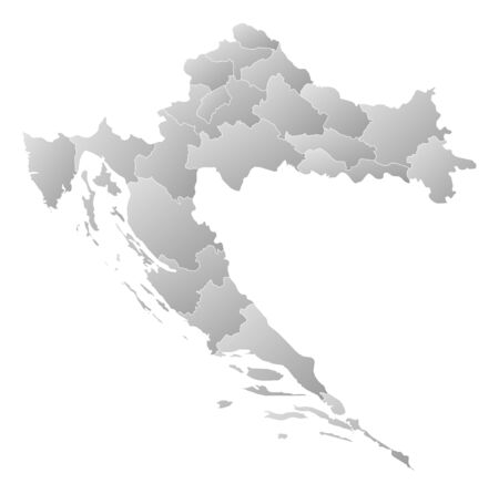 Map of Croatia with the provinces, filled with a linear gradient.