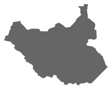 south sudan: Map of South Sudan as a dark area.