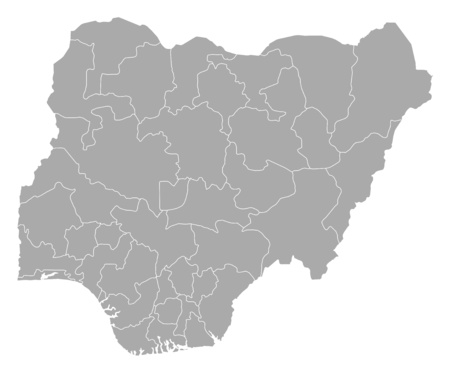 provinces: Map of Nigeria with the provinces. Illustration