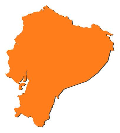 republic of ecuador: Map of Ecuador, filled in orange.
