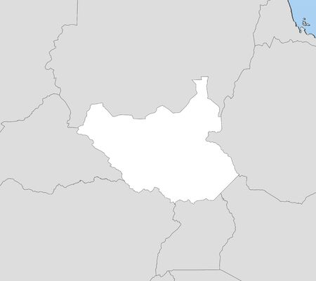south sudan: Map of South Sudan and nearby countries, South Sudan is highlighted in white.