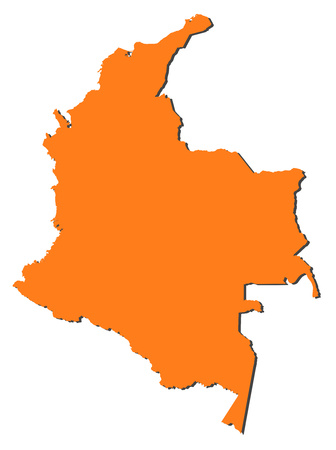 the americas: Map of Colombia, filled in orange. Illustration