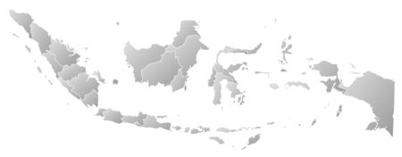 southeastern asia: Map of Indonesia with the provinces, filled with a linear gradient. Illustration