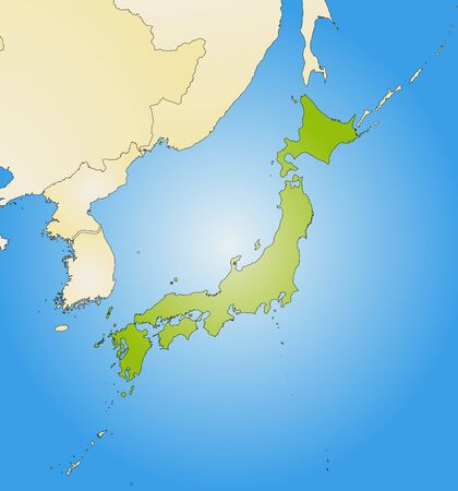 Map of Japan and nearby countries, filled with a radial gradient. Illustration
