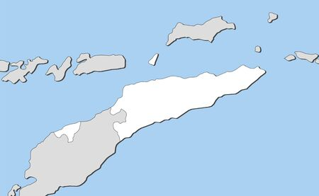 three colored: Map of East Timor and nearby countries, East Timor is highlighted in white.
