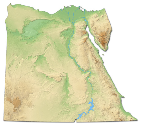 shaded: Relief map of Egypt with shaded relief. Stock Photo