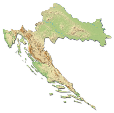Relief map of Croatia with shaded relief. Stock Photo