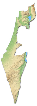 southwestern asia: Relief map of Israel with shaded relief.