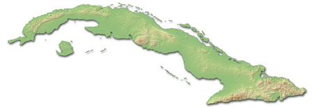 Relief map of Cuba with shaded relief.