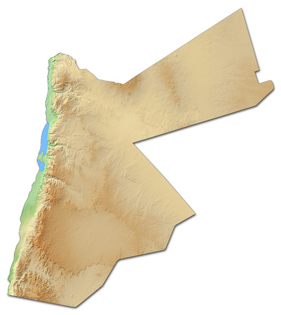 western asia: Relief map of Jordan with shaded relief.