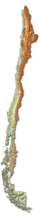 shaded: Relief map of Chile with shaded relief.